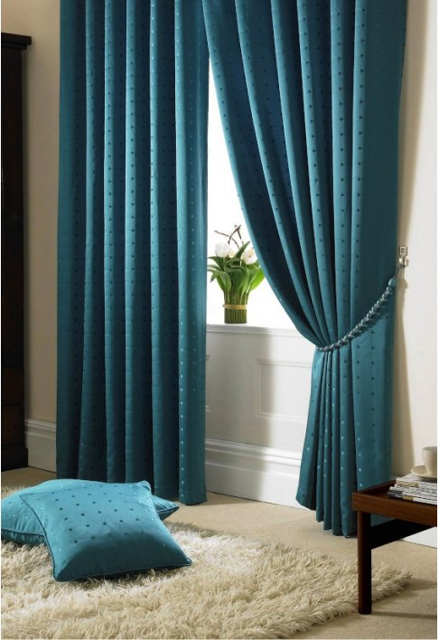 Teal - Tape Heading - Lined Curtains