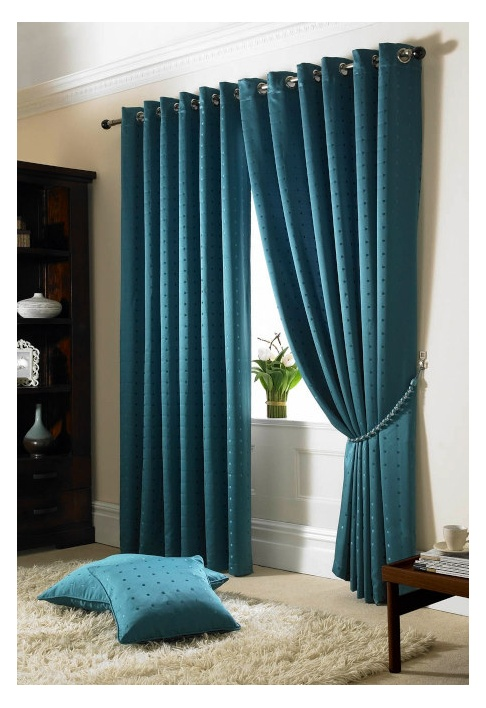 Teal Eyelet Lined Curtains