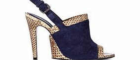 Blue and python skin sling back heels