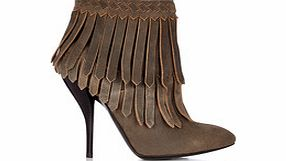 Grey leather fringed ankle boots