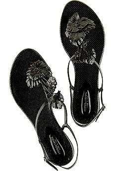 Perforated leather flower sandals