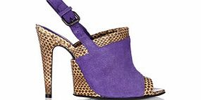 Purple and python skin sling back heels