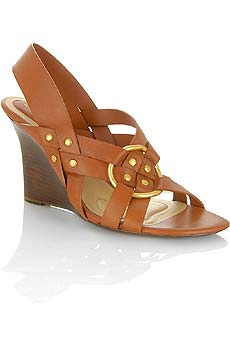 Woven leather wedge sandals