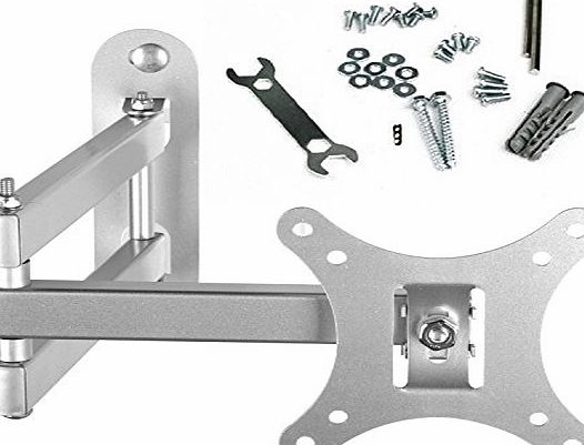 BPS Tilt amp; Swivel TV Wall Mount Bracket with Arm (Silver) for 10-30 Inch LED LCD Plasma Widescreen Full HD LED Freeview HD TV Screen Monitor, Max Load Lapacity 66lbs, VESA 100x100mm 75x75mm