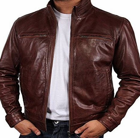 Brandslock Mens Leather Biker jacket Brown Brand New Real Leather Coat Designer X-Small-5XL (Medium)