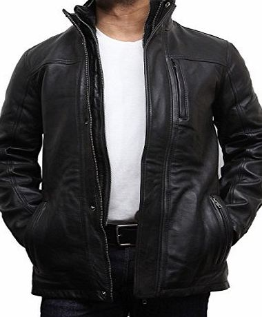 Brandslock UK Vintage Mens Leather Stylish Biker Parka Jacket Coat Designer style Jacket (5xl) (L, Black)