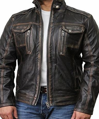 Brandslock Vintage Black Mens Leather Biker Jacket (L)