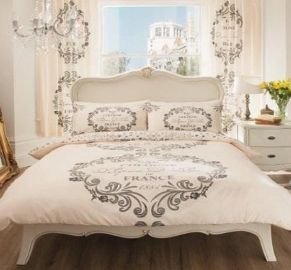 Brandstock24 SCRIPT PARIS DOUBLE SIZE DUVET COVER BEDDING SET - CREAM