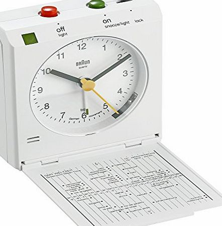 Braun Analogue Reflex Controlled Travel Alarm Clock, White