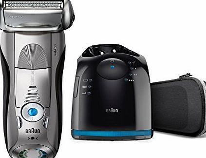 Braun Series 7 7898cc Mens Electric Foil Shaver, Wet and Dry with Clean and Charge Station, Pop Up Trimmer, Rechargeable and Cordless Razor