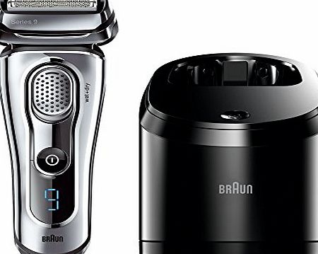 Braun Series 9 9095CC Mens Electric Foil Shaver Wet and Dry with Clean and Renew Charger Rechargeable and Cordless Razor