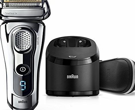 Braun Series 9 9296cc Mens Electric Foil Shaver, Wet and Dry with Clean and Renew Charge Station, Pop Up Trimmer, Rechargeable and Cordless Razor and Premium Travel Case - Chrome