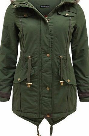 Brave Soul Allure Ladies Faux Fur Parka Coat - Khaki Green -Small - 10