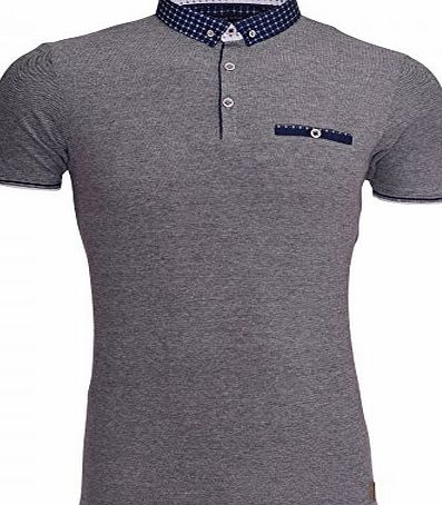 Brave Soul Mens Designer Brave Soul Polo T Shirt Collar Smart Casual Short Sleeved Top Chest Pocket Medium Navy Blue