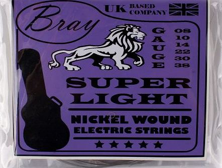 Super Light Nickel Wound Electric Guitar Strings (08 - 38) Perfect For Rockburn, Encore, Jaxville, Stagg, Tiger & Lindo Electric Guitars - Includes Vinyl Sticker
