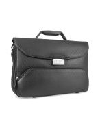 Pininfarina - Menand#39;s Black Leather Multi-Compartment Briefcase