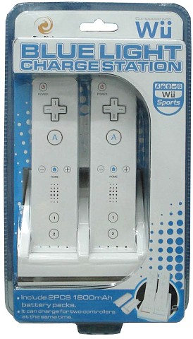 Wii Blue Light Charge Station with 2pcs 1800mAH
