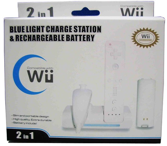 Wii charge station bluelight and rechargeable