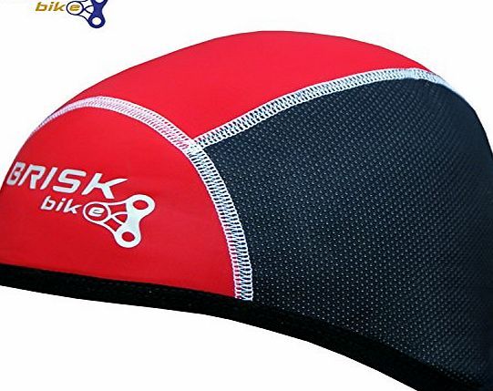 Brisk Bike Brisk cycling skull cap under helmet thermal tight fit warm regular size (Red/Black)