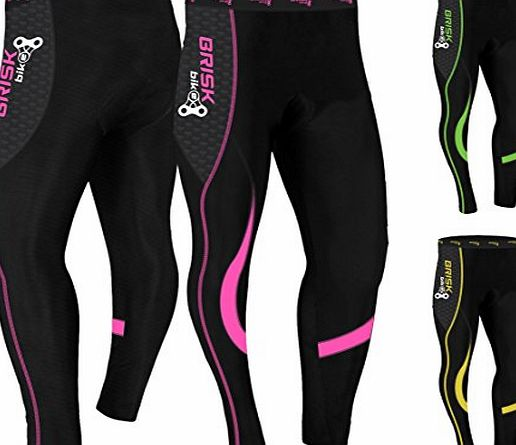 Brisk Bike Ladies Cycling Tights Padded Winter Thermal Pants Womens Cycle Bicycle Trousers (Black/Pink, S)