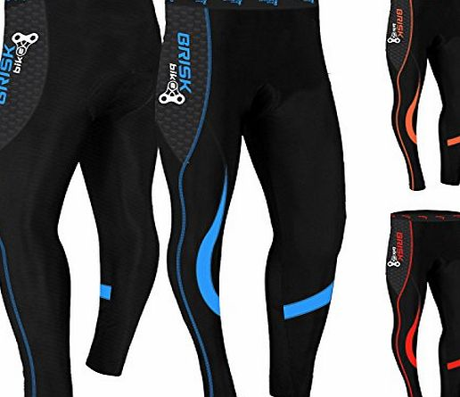 Brisk Bike Mens Cycling Tights Thermal Legging Bicyle Cycle Pant Trouser Coolmax Padded ? Italian Fabric ?Fast Delivery ? Easy Returns (Black / Red, Extra Large)