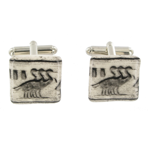 Egyptian Birds Ceramic Cufflinks.