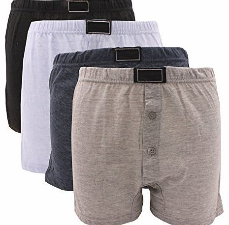 Britwear 6 x BRITWEAR® Mens Button Fly Jersey Boxer Shorts Natural Cotton Rich Boxers UnderwearColour:Dark As