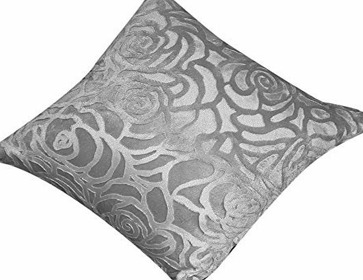 Broadfashion 43 x 43CM Square Floral Decorative Throw Pillow Case Cushion Cover Home Sofa Bed (Silver Gray)