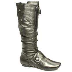 Female Cody 2-Button Knee Leather Upper in Black, Green