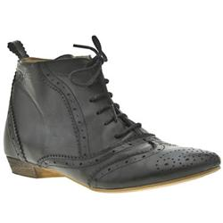 Female Herald Brogue Lace Ank Leather Upper in Black, Light Grey