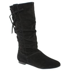 Female Karmel Slouch Whipstitch Boot Suede Upper in Black