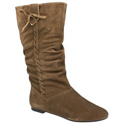 Female Karmel Slouch Whipstitch Boot Suede Upper in Natural - Honey