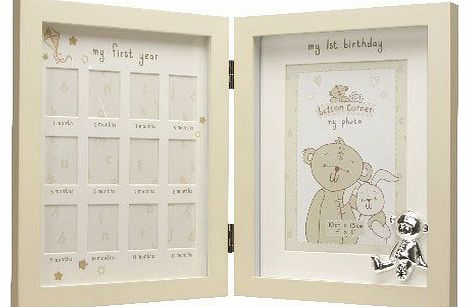 New Babys 1st Year Photo Frame Silver Teddy