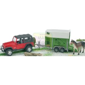 JEEP Wrangler Unlimited with Trailer and Horse 1 16