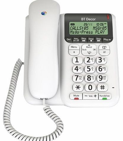 Décor 2500 Corded Telephone with Answer Machine - White