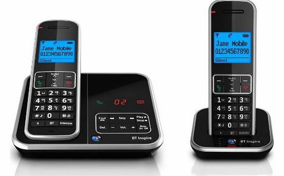 Inspire 1500 Twin Digital Cordless Phone with Answer Machine - Black