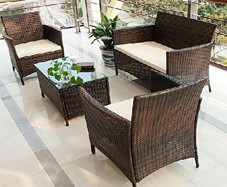 BTM (BTM) 4-Piece Rattan Cube Garden Furniture Set Square 4 Seat Patio Lounge Set Sofa Set Wicker