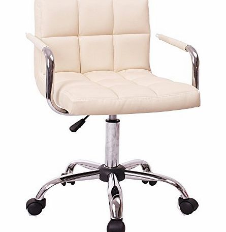 BTM (BTM) Brand New Barcelona office Chair CREAM BREAKFAST BAR STOOL PU LEATHER BARSTOOL KITCHEN STOOLS CHAIR/STOOL WITH ARMS OFFICE/COMPUTER/SALON CHROME OFFICE PC CHAIR