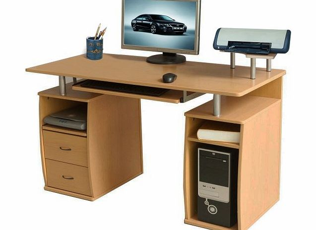 (BTM) Large Computer Desk with 2 Drawers and 4 Shelves for the Home Office Study Furniture Workstations PC Table--Full 2 YEAR WARRANTY against defects