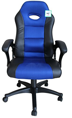 Contemporary Luxury Office High Back Support Gaming Chair in Black&Blue+Tilt Lock Mechanism