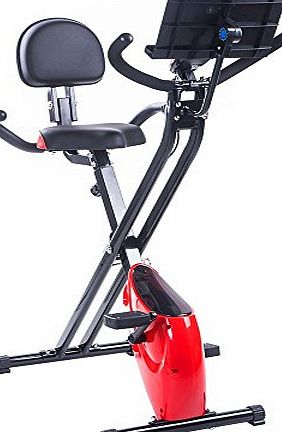 BTM Folding Magnetic Exercise Bike X-Bike F-Bike Fitness Cardio Workout Weight Loss Machine with IPAD hold (Red Advanced)