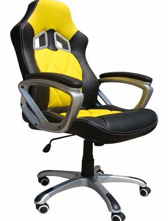 High Back Executive Swivel Computer Desk Office Chair Racer Gamer Chair Yellow / Black
