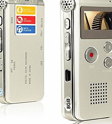 Btopllc Multifunctional Digital Audio Voice Recorder, Rechargeable Dictaphone with Mini USB Port, MP3 Music Player(Silver)