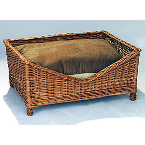 Coloured Wicker Dog Basket Bed (medium)