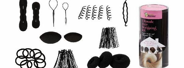 Bundle Monster 9in1 Fashion Hair Design Styling Tools Accessories Kit- Bun Maker, Roller, Braid Twist, Elastics, Pins for BLACK Hair Color