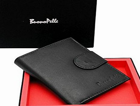 Buono Pelle MENS REAL LEATHER GENUINE HIGH QUALITY DESIGNER BUONO PELLE WALLET CREDIT CARD HOLDER PURSE GIFT BOXED (Black)