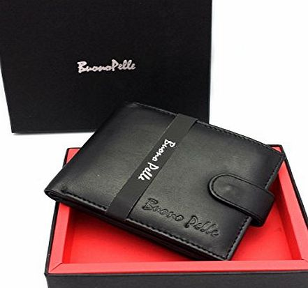 Buono Pelle RFID BLOCKING MENS DESIGNER BUONO PELLE GENUINE REAL SOFT LEATHER WALLET WITH LARGE ZIP COIN POCKET / POUCH