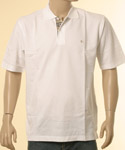 Mens White Polo Shirt With Trim on Inset