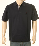Navy Polo Shirt With Burberry Trim