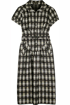 Checked cap sleeve dress